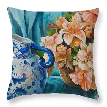 Throw Pillow featuring the painting Delft Pitcher With Flowers by Marlene Book