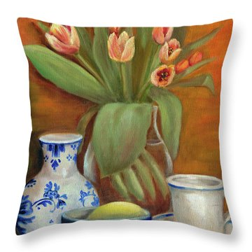 Delft Vase And Mini Tulips Throw Pillow