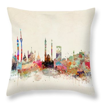 Throw Pillow featuring the painting Delhi City Skyline by Bri B