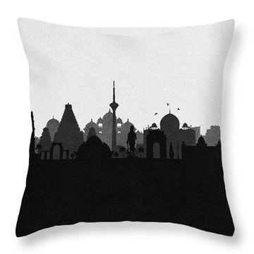 Delhi Cityscape Art Throw Pillow