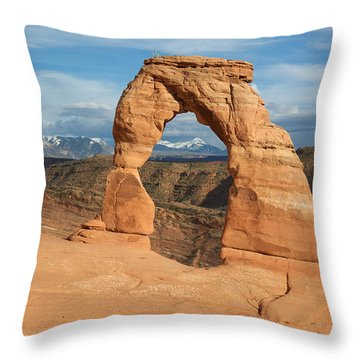 Throw Pillow featuring the photograph Delicate Arch  by Aaron Spong