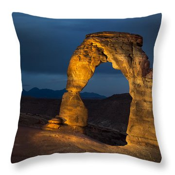 Delicate Arch At Night Throw Pillow by Adam Romanowicz
