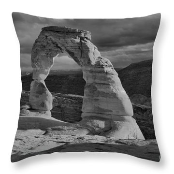 Delicate Arch Black And White Sunset Shadow Throw Pillow