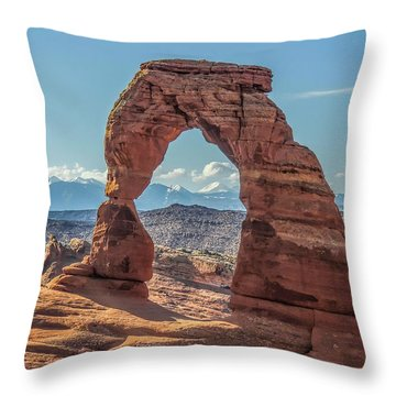 Delicate Arch In Early Morning Throw Pillow