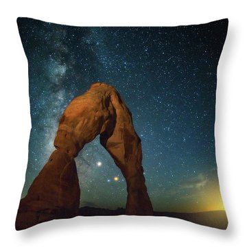 Delicate Arch Moonset Throw Pillow