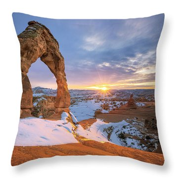 Delicate Arch Winter Throw Pillow
