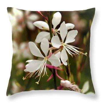 Delicate Gaura Flowers Throw Pillow by Joann Copeland-Paul