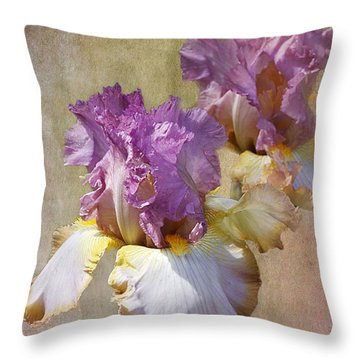 Delicate Gold And Lavender Iris Throw Pillow by Phyllis Denton