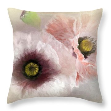 Delicate Pastel Poppies Throw Pillow