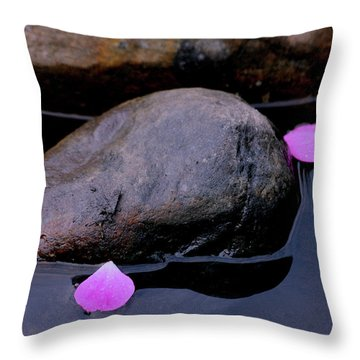 Throw Pillow featuring the photograph Delicate Petals With Rocks by Doris Potter
