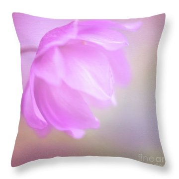 Delicate Pink Anemone Throw Pillow