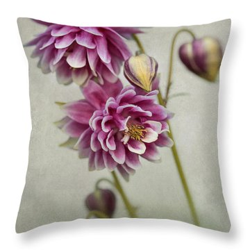 Delicate Pink Columbine Throw Pillow
