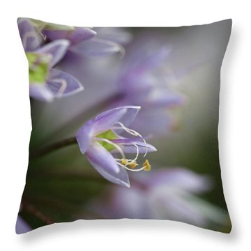 Delicate Purple Flowers Throw Pillow