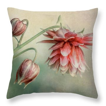 Delicate Red Columbine Throw Pillow