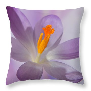 Delicate Spring Crocus. Throw Pillow