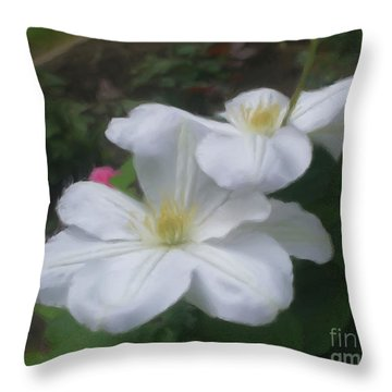 Delicate White Clematis Pair Throw Pillow