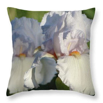 Delicate White Iris Throw Pillow