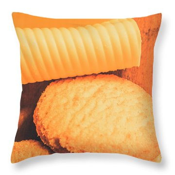 Delicious Cookies With Piece Of Butter Throw Pillow