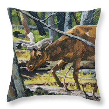 Throw Pillow featuring the painting Delicious Greens, Yellowstone by Erin Fickert-Rowland