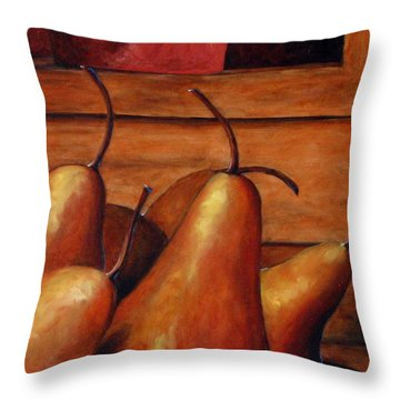 Delicious Pears Throw Pillow by Richard T Pranke