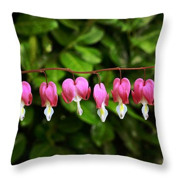 Delightful Bleeding Hearts Flowers Throw Pillow