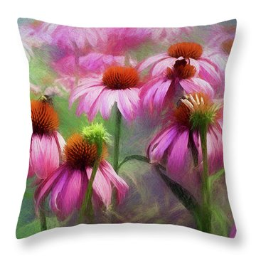 Delightful Coneflowers Throw Pillow by Diane Schuster