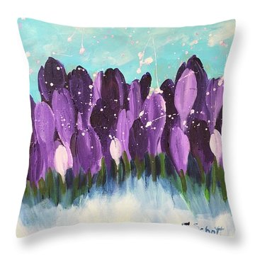 Delightful Crocus  Throw Pillow