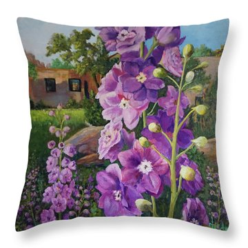 Delightful Delphiniums Throw Pillow