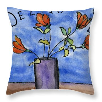 Delightful Flowers In Purple Vase Throw Pillow