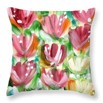 Delightful Tulip Garden Throw Pillow