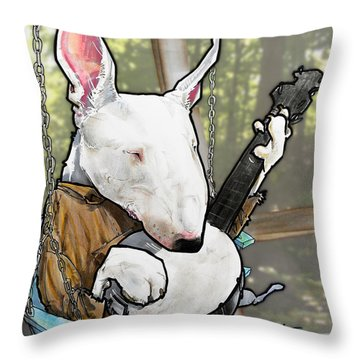 Deliverance Bull Terrier Caricature Art Print Throw Pillow