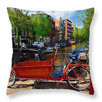 Delivery Bike Throw Pillow by Tom Reynen