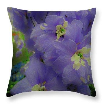Delphinium Blues Throw Pillow