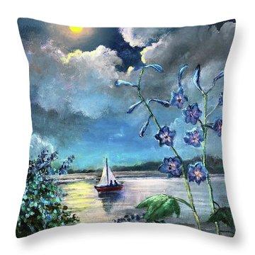 Delphinium Dreams Throw Pillow