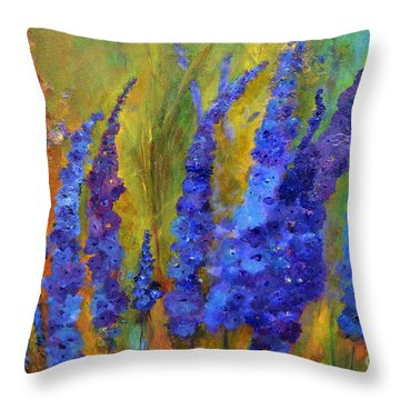 Delphiniums Throw Pillow by Claire Bull