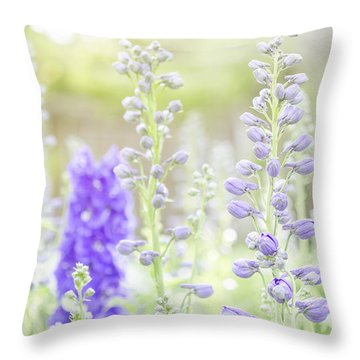 Delphiniums Throw Pillow