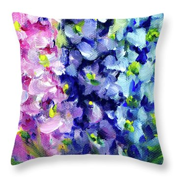 Delphiniums Mixed Throw Pillow