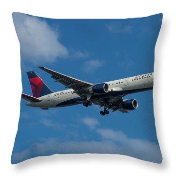 Delta Air Lines 757 Airplane N668dn Throw Pillow by Reid Callaway