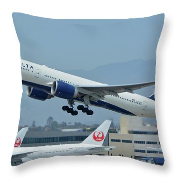 Throw Pillow featuring the photograph Delta Boeing 777-232lr N703dn Los Angeles International Airport May 3 2016 by Brian Lockett