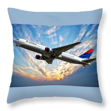 Delta Passenger Plane Throw Pillow