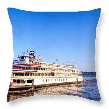 Delta Queen Steamboat On Mississippi Throw Pillow