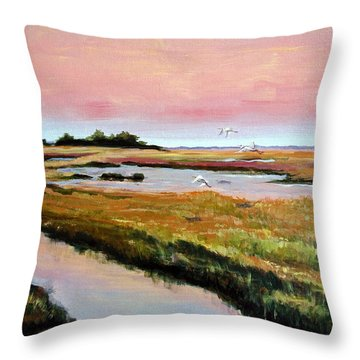 Throw Pillow featuring the painting Delta Sunrise by Suzanne McKee