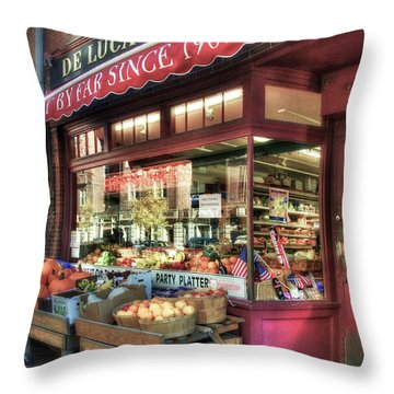 Throw Pillow featuring the photograph Deluca's Market - Boston by Joann Vitali