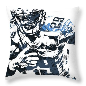 Throw Pillow featuring the mixed media Demarco Murray Tennessee Titans Pixel Art by Joe Hamilton