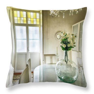 Throw Pillow featuring the photograph Demijohn And Window Color Cadiz Spain by Pablo Avanzini