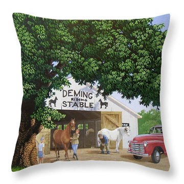 Deming Stables Throw Pillow