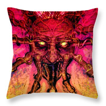 Throw Pillow featuring the painting Demon by David Mckinney