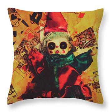 Demonic Possessed Joker Doll Throw Pillow