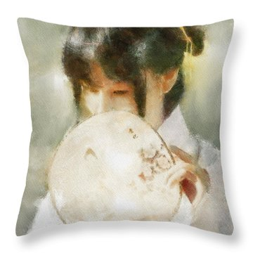 Throw Pillow featuring the digital art Demure by Greg Collins
