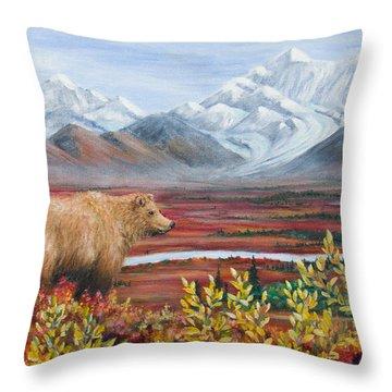 Denali Highway Visitor Throw Pillow by Dee Carpenter